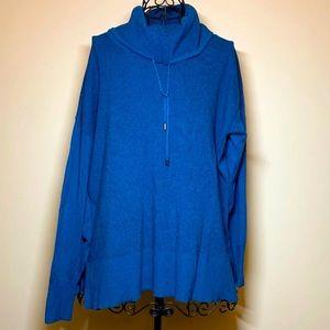 Turquoise Blue Waffle Cowl Neck Large Sweater